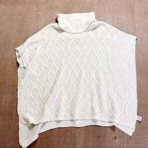 Altar'd State Cable Knit Cream Poncho Sweater